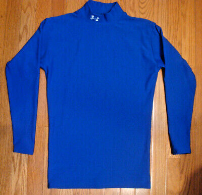 """UNDER ARMOUR Cold Gear Mock Bright Blue Shirt LARGE -  18"""" Armpits * 26"""" Length"""