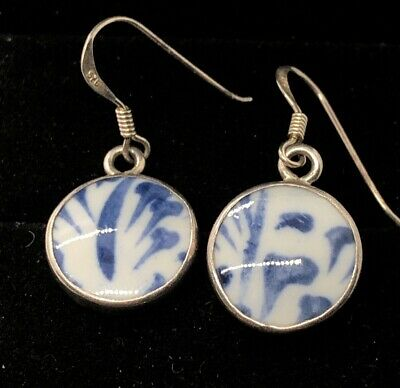 Vintage Sterling Silver Earrings 925 Ceramic Porcelain Dangle Chinese