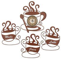 Metal Coffee Cup Clock Java Latte Mocha Wall Art 4-Pc Brown Kitchen Cafe Decor