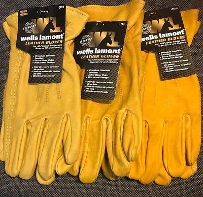 New Wells Lamont Premium Cowhide Leather Work Gloves 1-3 Pair M L Xl 1209m-xl