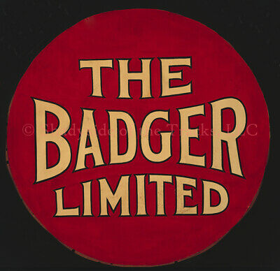 """Chicago North Shore & Milwaukee Badger Full-Size Repro Drumhead Sign 21"""" CNS&M"""