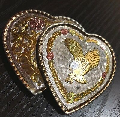 Western Belt Buckle Double Hearts w Floral And eagle W  USA  Silver Etched Gold