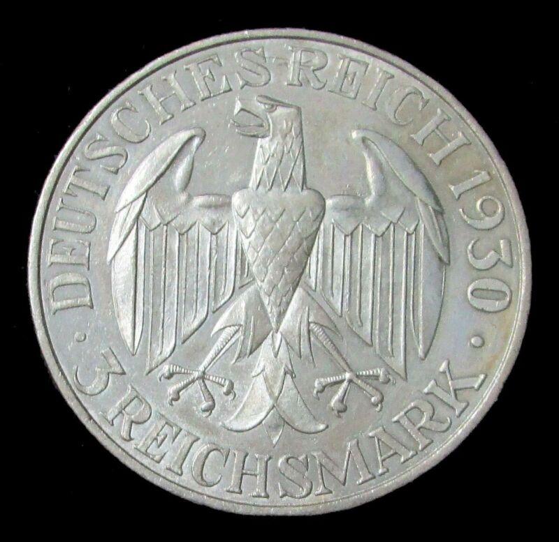 1930 SILVER WEIMAR REPUBLIC 3 REICHMARK COIN - GRAF ZEPPELIN WORLD FLIGHT