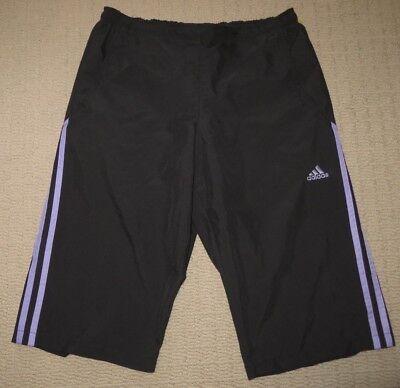 Women Adidas Running Athletic Yoga Training 3 Stripes Capri Pants Medium Black