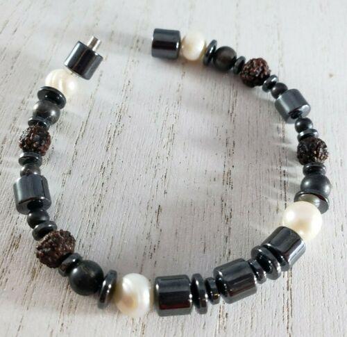 Hematite Pearl Lava Rock Screw Clasp Bracelet UNIQUE