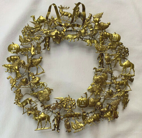 Vintage Dresden Petites Choses Brass Holiday Wreath Christmas Animals Large