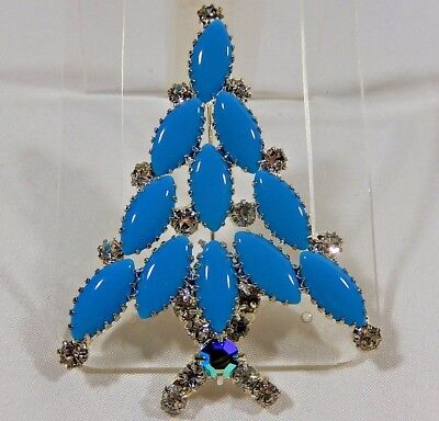 CHRISTMAS TREE SIGNED RON LIN TURQUOISE GLASS CABOCHON RHINESTONE PIN BROOCH