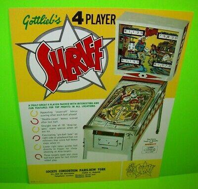 Sheriff Pinball Machine FLYER Original 1971 Promo Art Gottlieb Vintage Cowboys