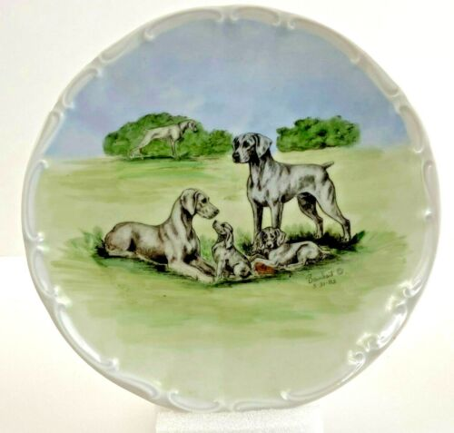 Weimaraner Bareuther Decorative Plate Hand Painted Signed & Numbered Barnhart