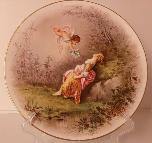 Antique Limoges Style Hand Painted Charger Signed