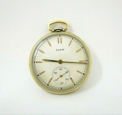 Elgin Vintage Open Face 10K Rolled Yellow Gold Plated Pocketwatch Circa 1932