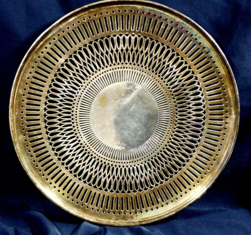 Vintage Pierced Plate platter silver plated hallmark NS 1877