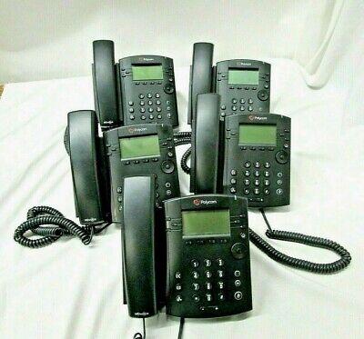 Lot Of 5 Polycom Vvx 300 Voip 6 Line Business Phone Black W Handset Stand