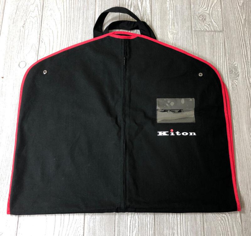 Authentic Kiton Cloth Luxury Black & Red Trim Garment Bag MINT! (t6)