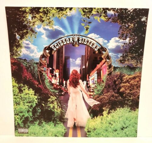 """SCISSOR SISTERS PROMO CARDBOARD FLAT SIGN TWO-SIDED DEBUT ALBUM COVER 12"""" X 12"""""""