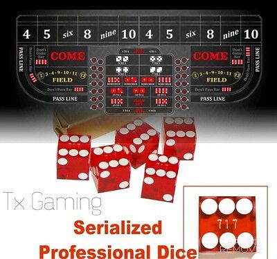 Professional Craps Digital 8' Table Layout Felt & 5 Red Serialized Casino Dice