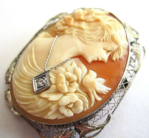 ANTIQUE 14K GOLD NATURAL SHELL HABILLE CAMEO PIN/ BROOCH