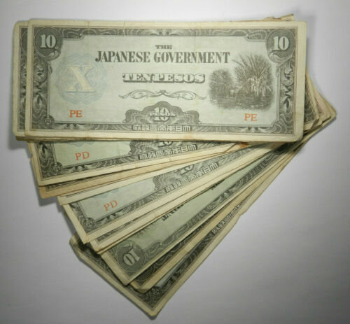 1942 Japan Invasion of Philippines 10 Ten Pesos, Circulated Choose How Many!