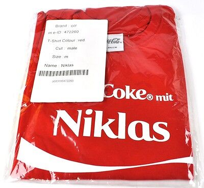 Coca-Cola Coke Niklas T-shirt rot Größe S Namen Vornamen Namensshirt