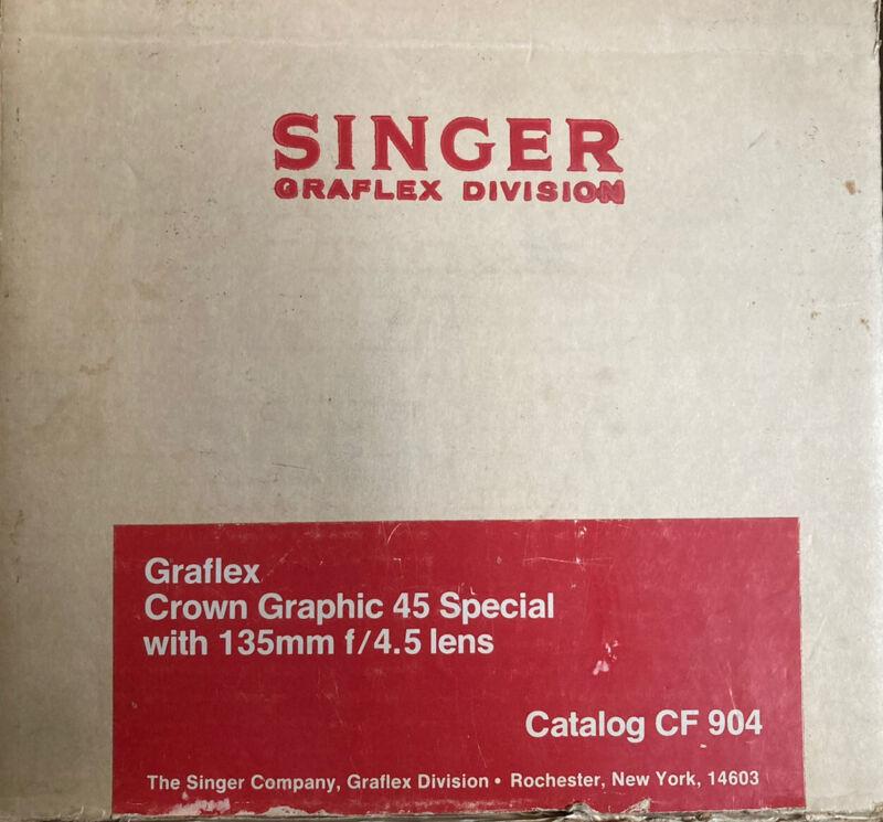 Singer Graflex Crown Graphic 45 Special 135mm f/4.5 Estate Original box, Receipt