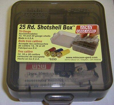 MTM Case Gard™ 25 Round Shotshell Box Tri Gauge 12, 16 & 20 Gauge SMOKE S-25-12D