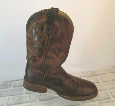 Double H Boots Mens Sz 9 D Brown Leather Square Toe Western Work Cowboy DH3560