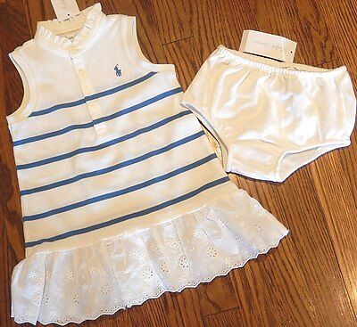 POLO RALPH LAUREN BABY GIRLS 2Pc AUTHENTIC BRAND NEW WHITE DRESS SET Sz 9M, NWT