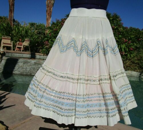 "Vintage squaw patio skirt M 30-38"" waist eggshell 25"" length very full"