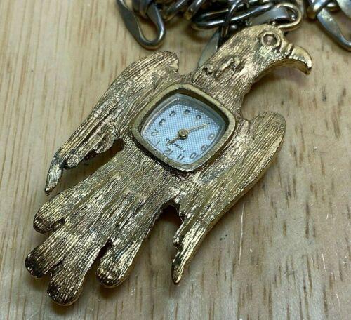 Vintage Caravelle Bulova Eagle Hand-Wind Necklace Pendant Pocket Watch Hours