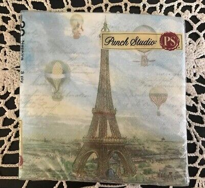 4pc Punch Studio Balloons over Paris Guest 3ply paper napkin 13 x 16 Decoupage