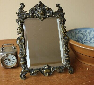 Antique Brass Dressing Table Easel Back Mirror. Baroque Lion Figure 19th Century