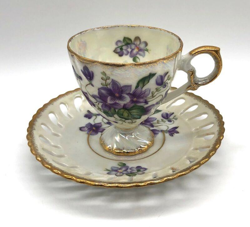 Hand-Painted Cutwork Demitasse Cup & Saucer in Purples / Green / Pearlized