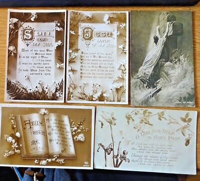 5 Antique Religious Postcards Circa 1914 Includes Abide With Me Hymns
