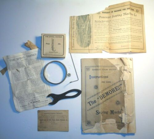 DEMOREST SEWING MACHINE CO. INSTRUCTIONS, SPIRAL DARNER, WRENCH, INSP. TICKET