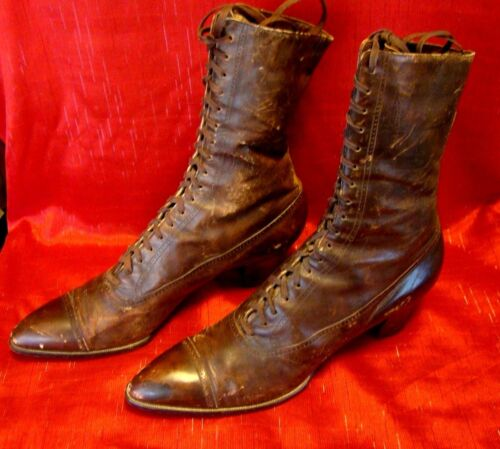 "Vintage - 1924 - Hanan & Son - Womens - High Top Lace Up Boots - ""As Found"""