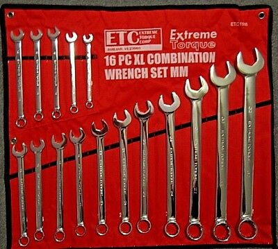 Extra Long Metric Combination Wrench Set 10 - 32mm XL Extreme Torque ETC1938 ETC