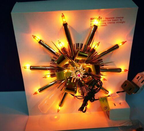"9"" VINTAGE 16-Light GOLD Poke CHRISTMAS STAR Tree Topper GOLD Original 1915G NEW"