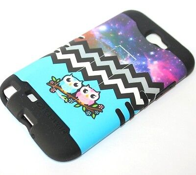 For Samsung Galaxy Note 2 -HARD&SOFT RUBBER HYBRID CASE BLUE CHEVRON ANCHOR OWLS (Samsung Galaxy Note 2 Covers Owls)