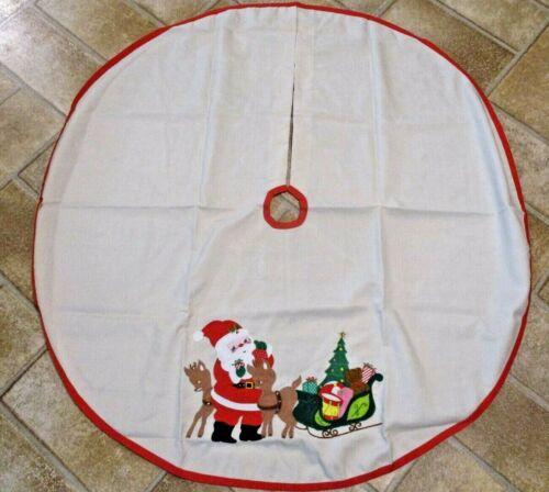 Vintage Christmas Tree Skirt Santa Sleigh Reindeer Etc
