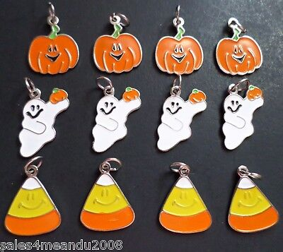 12 Enamel Halloween Ghost Pumpkin Candy Corn Charms Scrapbooking Jewelry H12 - Candy Charm