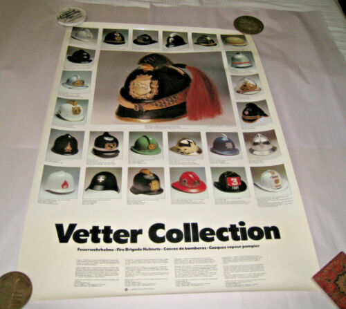 """1980s Poster Vetter Collection Fire Brigade Helmets West Germany 23/33"""""""