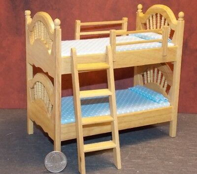 Dollhouse Miniature Bunk Beds Oak Finish 1:12 one inch scale Y58 Dollys Gallery for sale  Danville