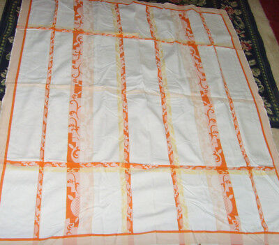 "Orange and yellow vintage retro fabric kitchen tablecloth chic 54x62"" kitchen"