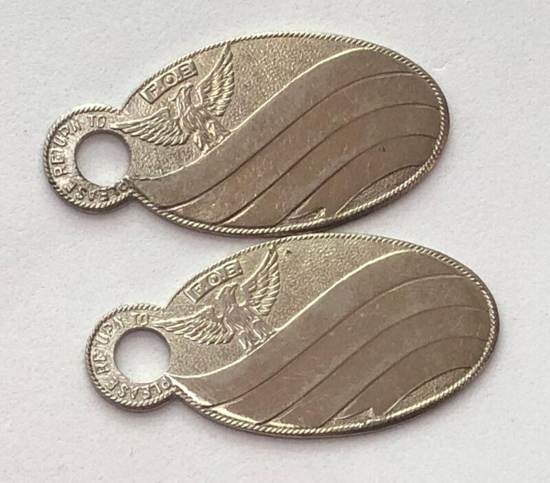 Lot of 2 Unused Antique FOE Fraternal Order of Eagles KEY FOBS - Not Engraved!