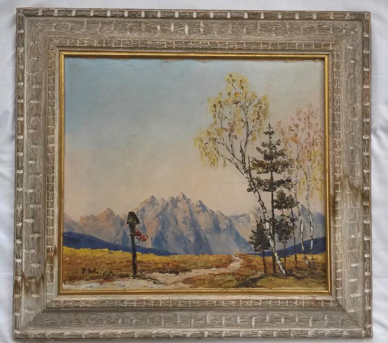 Continental School Impressionist Landscape W/  Mountains, Bird House Circa 1930