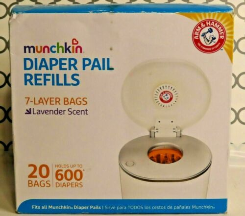 Munchkin Arm & Hammer 20 Count Diaper Refill Bags Lavender Scent New Sealed