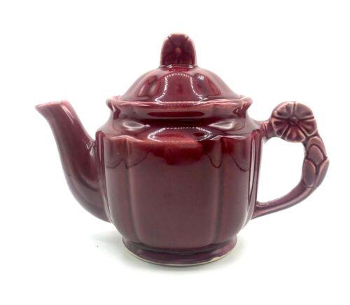 Vintage Shawnee USA Pottery Burgundy Rosette Teapot