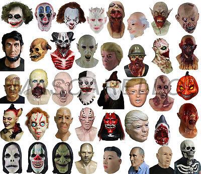 Realistic Human Face Zombie Vampire Clown Skull Latex Full Head Mask Costume Toy - Latex Clown
