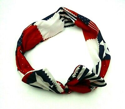 PATRIOTIC RED, WHITE & BLUE CLOTH HEADBAND WITH SOFT WIRE INSIDE STARS & STRIPES ()