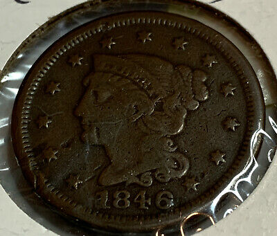 1846 Philadelphia Mint Copper Braided Hair Large Cent Small Date Awesome Details